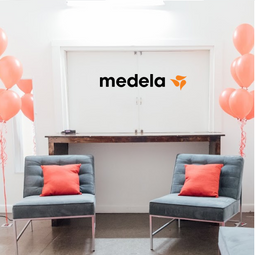 Visit the nursing and pumping lounge, compliments of Medela