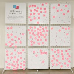 Write a note to your baby or loved one at the Water Wipes love notes wall